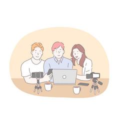 blogging vlogging sharing video content online vector image