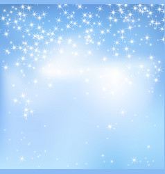 Blue sky with clouds and stars vector