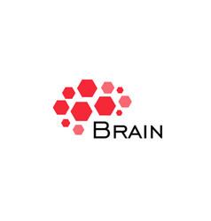 brain abstract icon hexagonal shapes geometric vector image