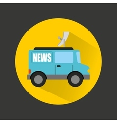 Breaking news car isolated icon vector
