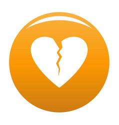 broken heart icon orange vector image
