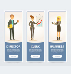 Business people set director and clerk business vector