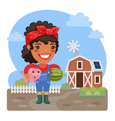cartoon female farmer with a piggy vector image