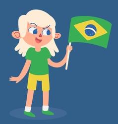 Cartoon Girl Holding a Brazilian Flag vector