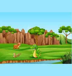 cartoon happy animals on the field vector image