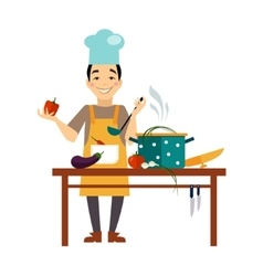 Chef Cooking Food vector image