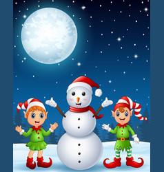christmas girl elf with boy elf and snowman in the vector image