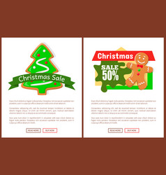 christmas sale price tag gingerbread man and tree vector image