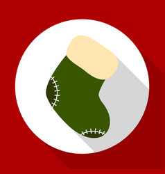christmas sock icon on red background with long vector image
