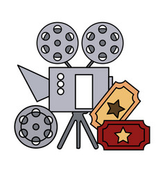 cinema projector and ticket isolated icon vector image