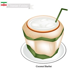 Coconut sharbat or iranian drink from coconut vector