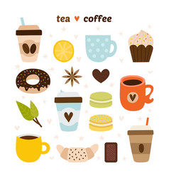 coffee and tea collection coffee-shop icons vector image