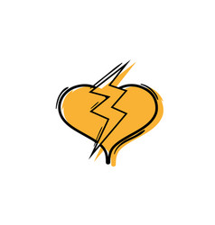 Color heart with thunder symbol lobe design vector