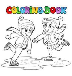 Coloring book skating boy and girl vector