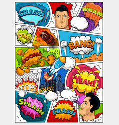 Comic book page layout comics template vector