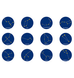 constellations on blue round background vector image
