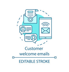 Customer welcome emails blue concept icon vector