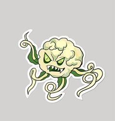 Dangerous cartoon monster cauliflower with vector