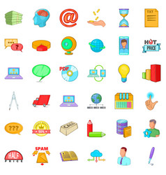 Digital contract icons set cartoon style vector