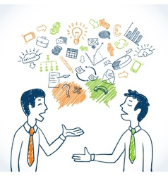 Doodle business conversation vector image