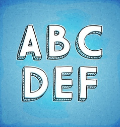Doodle Style Hand Drawn Alphabet A-F vector
