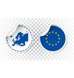 Europe sticker with flag and map european union vector