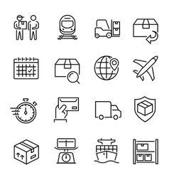 express delivery service linear icons set vector image