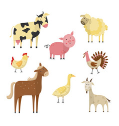 Farm animals and birds flat set vector