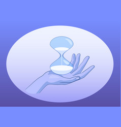 female hand with sand glass symbol of time vector image