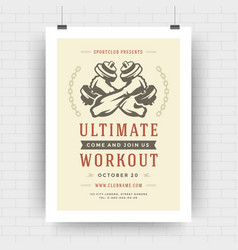 fitness center flyer modern typographic layout vector image