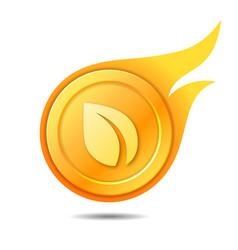 Flaming peercoin symbol icon sign emblem vector