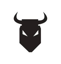 Flat icon in black and white bull vector