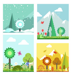 Forest in different seasons vector
