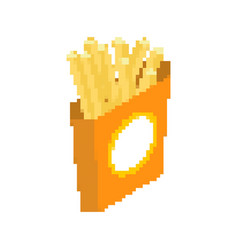 French fries pixel art fast food pixelated vector