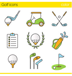 golf color icons set vector image