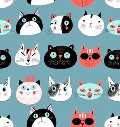 Graphic seamless pattern portraits of cats vector