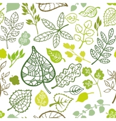 Green leavesbranches outline seamless pattern vector image