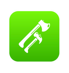 hammer and axe icon green vector image