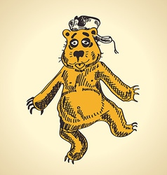 Hand drawn cartoon bear funny drunk vector