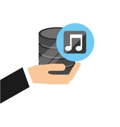 Hand holds data music icon vector