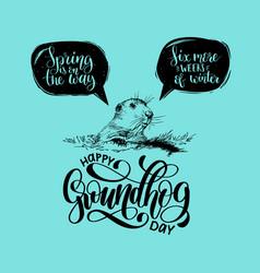 happy groundhog day sketched vector image
