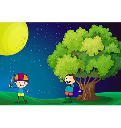 Happy kids playing near the tree under the bright vector