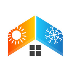 Heating and cooling house vector