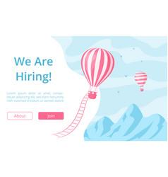 hiring offer hot air balloon website vector image