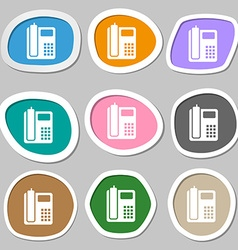 home phone symbols Multicolored paper stickers vector image