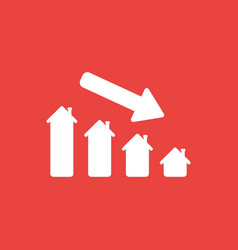 Icon concept of house graph moving down on red vector