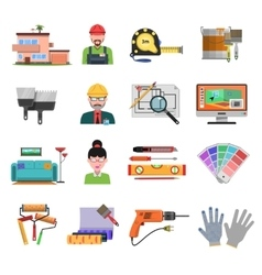 Interior Flat Icons vector image