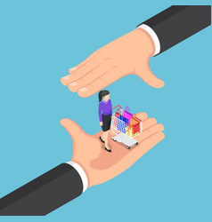 isometric businessman hands protecting vector image
