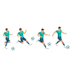 isometrics soccer player playing football the vector image