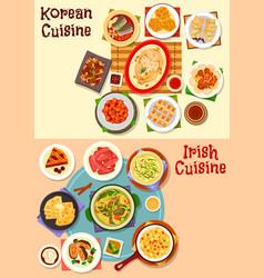 Korean and irish cuisine dinner icon set design vector